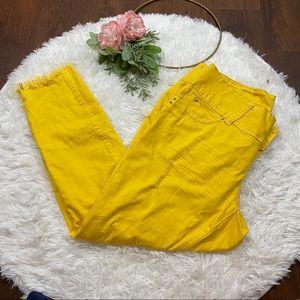 YMI Yellow Raw Hem Skinny Jeans Size 14